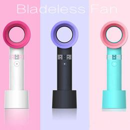 3 couleurs USB ventilateur sans lame rechargeable de poche mini refroidisseur aucune feuille pratique ventilateurs avec 3 niveau de vitesse LED indicateur de voiture HHA64 en Solde