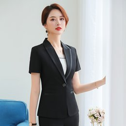 $enCountryForm.capitalKeyWord NZ - Summer Fashion Women Blazer Office Lady Elegant Short Sleeve Suit Set Patchwork Work Wear Female Formal Uniform (Jacket + Skirt)