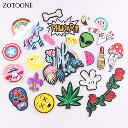 $enCountryForm.capitalKeyWord Australia - ZOTOONE 1PC Cute Patches Logo Fruit Letter Patch Emoji Cheap Embroidered Iron On Kids Cartoon Patch For Clothes Jeans Applique B