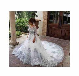 Wholesale e train for sale – custom e Long Sleeve Lace Wedding Dresses Button Back Appliques Beaded Bridal Wedding Gowns