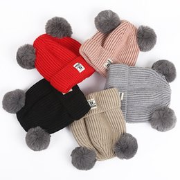 Wholesale 1pcs Cartoon Winter Knitted Thickening hats For Children Double Pompom Fur Korean Style Cute Beanies For Kids Warmed Casual Caps