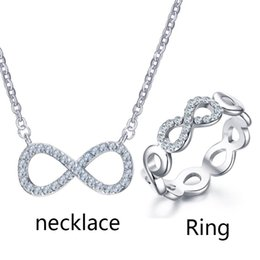 stainless steel infinity ring NZ - Classic Infinity Necklace And Ring Bridal Jewelry Sets Trendy Stainless Steel Rhinestone Infinity Necklace ring Gift Jewelry Set