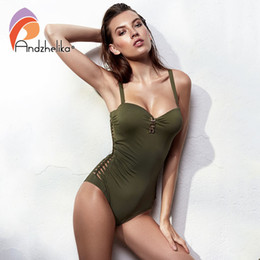$enCountryForm.capitalKeyWord Australia - Andzhelika Bandeau Swimear 2018 One Piece Suits Sexy Bodysuit Swimsuit Bandage Halter Bathing Suit Solid Crochet Bathing Suits Y19072501