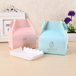 Wholesale Paper Cupcake Boxes Portable Cake Boxes Gold Stamping Gift Box with Handle Colors WB329