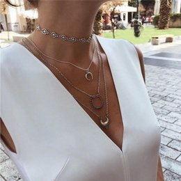 rose long chain pendant Australia - 19 Styles Boho Necklaces for Women Vintage Gold Silver Chain Long Moon Statement Necklace Pendant Bohemian Choker Jewelry ALXY05