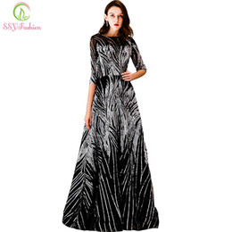 15ba6c134526 Ssyfashion New Luxury Sequins Evening Dress Banquet Elegant Black Half  Sleeved Party Prom Gown Robe De Soiree Reflective Dress Y19042701