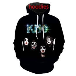 Wholesale Rock Band Shirts Australia - new kiss band rock 3d print hoodies tee shirts sweatshirts pants men harajuku funny pullover streetwear hip hop tracksuit jacket