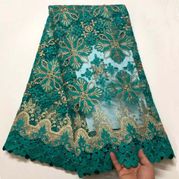 $enCountryForm.capitalKeyWord UK - High Quality African Lace Fabric Aqua Green French Net Embroidery Guipure Tulle Lace Fabric For Nigerian Party Dress XCF03