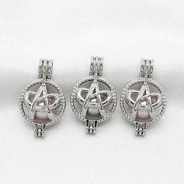 Scent Pendants Australia - 10pcs Silver Color Letter A Ribbon Pearl Cage Lockets Pendant for Perfume Essential Oil Diffuser Necklace Scented Jewelry Making