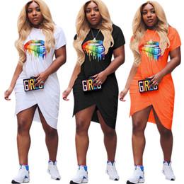 Lip mouth online shopping - Big Lips Irregular Split Dresses Rainbow Mouth Print t shirt Mini Skirt Women Fashion Ruched Dress Sexy Clubwear Party Dresses S XL C72309