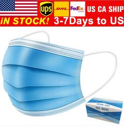 Опт Бесплатная доставка 3-7 дней в США Маски одноразовые лица с Elastic Ear Loop 3 слойный дышащий для блокировки маски пыли воздуха для предотвращения загрязнения