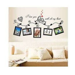 Bathroom Wall Sticker Quotes UK - Photo Frame Family Tree Bird Removable Quotes Wall Decal Sticker Room Home Decor