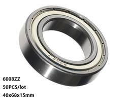 Shield Ball NZ - 50pcs lot 6008ZZ bearing 6008Z 6008 Z ZZ 40*68*15mm shielded Deep Groove Ball bearing 40x68x15mm