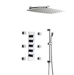 $enCountryForm.capitalKeyWord Australia - Modern 350*550mm Ultra Thin 304SUS Chrome Shower Head Set Overhead Big Rain Shower Thermostatic Bathroom Faucets with massage body jets