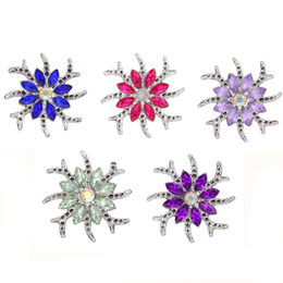 18mm bezel Canada - 10pcs lot New Snap Jewelry Rhinestone Flower 18mm Snap Buttons Fit 18mm Bracelet Necklace Women Jewelry