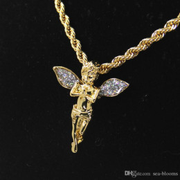 Gold plated anGel chain online shopping - 2019 Vintage Charming Angel Wings Rhinestone Angel Wings Gold Crystal Pendant Necklace K Gold Plated Sweater Chain Jewelry D872LR