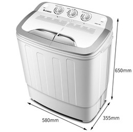 5KG semi-automatic double barrel washing machine double cylinder double cylinder bar household wave wheel small mini with dried on Sale