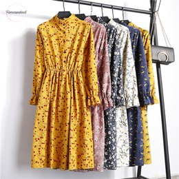collared mid calf dress NZ - Floral Autumn Maxi Dresses Women Mid Calf Dress Elegant Print Long Sleeves Stand Collar Corduroy Vintage Plus Size Designer Clothes