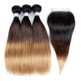 Human Hair 27 UK - 1B 4 27 Ombre Human Hair Bundles With Closure Three Tone Indian Straight Hair 3 Bundles With 4x4 Lace Closure Remy hair Extensions