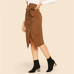 Falda de cuero de las señoras online-Falda bodycon de las mujeres marrones  con muesca 4 Fotos d474ad11878e