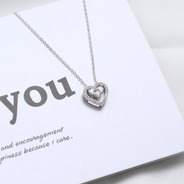 $enCountryForm.capitalKeyWord Australia - Heart Silver Pendant Necklace Personality Diamond Zircon Double Heart Clavicular Chain Necklace Feature Elegant Pendant Necklaces