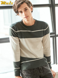 Branded Men Sweater NZ - Brand MuLS Crew-Neck Male Sweater Spring Stripe Pullover Sweater Cotton Textured O-Neck Man knitwear Autumn 2019 New Knits Cloth