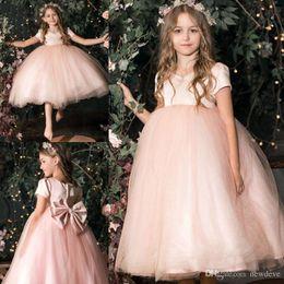 Custom Short Gown Australia - 2019 New Flower Girls Dresses Lace Applique Jewel Neck Ball Gown Capped Short Sleeve Kids Formal Wear Custom Made First Communion Dresses