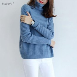 0801d6e62f56 Conejo Costillas de lana de cachemira Pullover Suéteres para mujer Camisa  clásica de base Mujeres Angora Cuello alto Suéter de punto Necesidad de  invierno