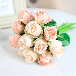 orange white roses bouquet NZ - 7 8 9 12pcs lot Artificial Rose Flowers Wedding bouquet New Year Pink Royal Rose Silk flower Home Decoration Wedding Party Decor