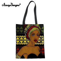 $enCountryForm.capitalKeyWord Australia - Fashion Linen Tote Bags Women Black Art African Girl Printing Shopping Bag Ladies Foldable Shopper for Females Eco Bag Dropship