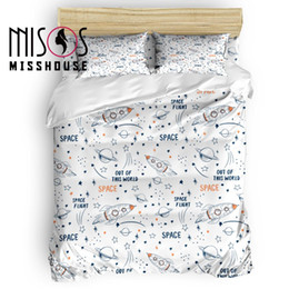 $enCountryForm.capitalKeyWord Australia - MISSHOUSE Universe Space Flight Cartoon Duvet Cover Set Bed Sheets Comforter Cover Pillowcases 4pcs Bedding Sets