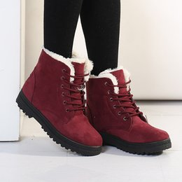 lace up flat boot NZ - Winter Women Boots Fashion Lace-Up Flat Shoes Woman Non-slip Warm Plush Snow Boots Botas Mujer 2019 Ladies Shoes Big Size 35-44 T200425