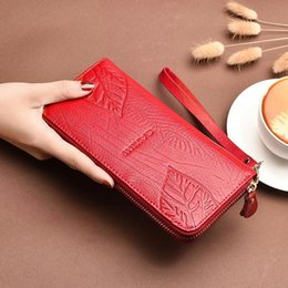 Candy Wallets Wholesale Australia - AOEO Embossing Leaves Lady Wallet Women With Split Leather Purse For Girls With Coin Money Bag Wristlet Slim Wallets Female