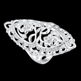Chic Rings Australia - Classic Creative Carved Silver Plated Elegant Ring 2019 Wholesale Statement Hollow Flower Chic Ring for Women Long Big Ring Can Mix Size