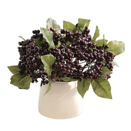 Flowers For wreaths online shopping - 1 Bouquet Fruit Berry Artificial Flower Bouquet For Xmas Tree Decorations Wreath Craft Use Wedding Party Favor Dark Purple Berr
