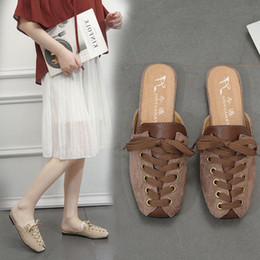 flat shoes korean styles 2019 - 2019 New Style Summer Korean Version of The Wild Female Flat Bottom Baotou Half Slippers One Pedal Lazy Shoes cheap flat