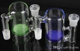 Discount perks for bongs New high quality glass ash catcher 14mm or 18mm blue or green color frit perk ashcatchers Ash catcher for glass bongs