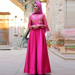 $enCountryForm.capitalKeyWord Australia - Charming Rose Red Kaftan Evening Dress with Long Sleeve Elegant Lace Applique Muslim Evening Party Dress Hijab Vestido De Festa