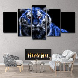 $enCountryForm.capitalKeyWord Australia - HD Printed Blue Glowing Tiger 5 Piece Group Painting Room Decor Print Poster Picture Canvas Free Shipping