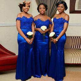 $enCountryForm.capitalKeyWord Australia - Fashion Royal Blue African Lace Bridesmaid Dresses Off the shoulder Mermaid Satin Long Wedding Guest Prom Formal party Dress Wholesale Price