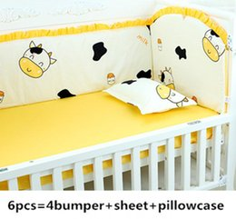 Bedding Sheeting Canada - Promotion! 6PCS Crib bedding set baby bed set, baby bed baby bedding bumper (bumpers+sheet+pillow cover)