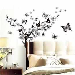 $enCountryForm.capitalKeyWord Australia - 50x70cm Wall Stickers Butterfly Vine Black Flowers Wall Decoration Film Home Decor