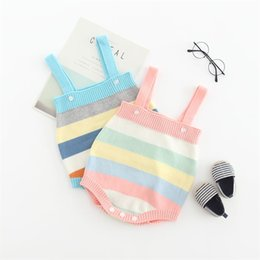 $enCountryForm.capitalKeyWord Australia - Autumn Newborn Sweater Rompers Rainbow Stripes Shoulder Buttons Fall Spring Knitting Cotton Baby Boys Girls Jumpsuits Sleeveless Onesies