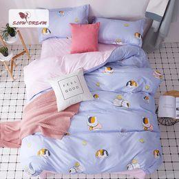 $enCountryForm.capitalKeyWord Australia - SlowDream Cartoon Cat Bedspread Decoration Home Textiles Duvet Cover&Flat Sheet Set Comforter Cover Bed Linen Set Adult Bed