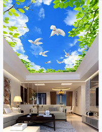 dive housing Canada - Custom 3D large silk ceiling mural photo wallpaper Blue sky white clouds green leaves white dove white dove living room ceiling zenith mural