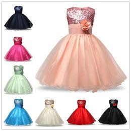Costume Ball Australia - Graduation Gown for Junior Senior Teens Evening Ball Costume Sequin Floral Long Dress Bridal Dress Girls Formal Occasion Wear 2-8T