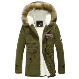 Parkas Green Australia - Wool Linner Men Winter Jacket Army Green 2019 Winter Mens Thick Warm Fur Collar Long Jackets Men Hooded Parka Men Coat