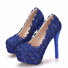 flowers blue Australia - Crystal Queen blue Flower Lace Wedding Shoes 14cm heel Platform Woman shoes High Heels Pumps
