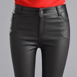 $enCountryForm.capitalKeyWord Australia - Thin Women Velvet Pu Leather Pants 2019 Autumn Winter Female Sexy Elastic Stretch Skinny Tight Faux Leather Pencil Pants Trouser