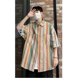 oversized shirts men Australia - Colored Striped Shirt Men Oversized Short Sleeve Hiphop Mens Top Clothing Big Patch Pockets 2020 Summer Loose Casual Shirts Male